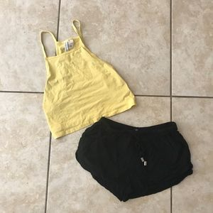 H & M bundle with shorts and yellow shirt